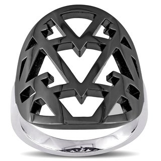 V1969 ITALIA Openwork Ring in Sterling Silver with Black Rhodium