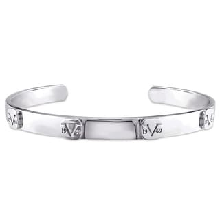 V1969 ITALIA Raised Logo Bangle Bracelet in Sterling Silver