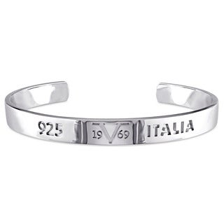 V1969 ITALIA Logo Mark Bangle Bracelet in Sterling Silver