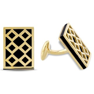 V1969 Italia Black Onyx Cufflinks in Yellow Gold Plated Sterling Silver