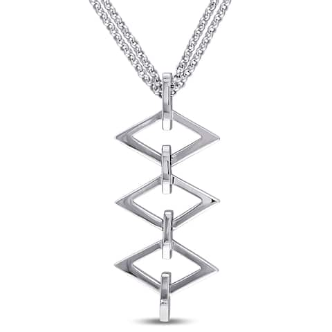 Miadora Ladder Drop Necklace in Sterling Silver - White