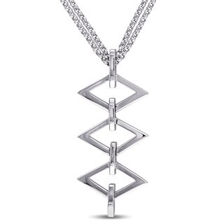 V1969 ITALIA Logo Ladder Drop Necklace in Sterling Silver