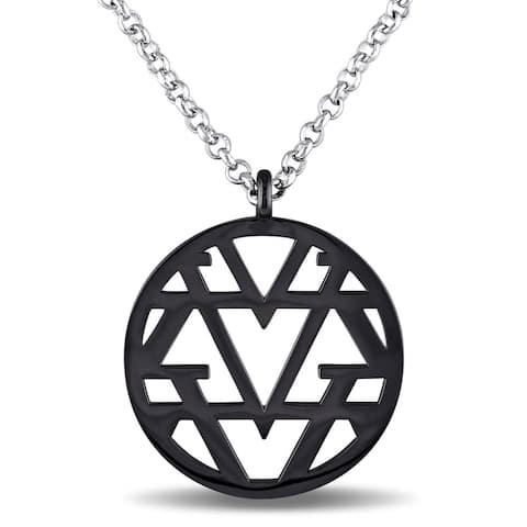 Miadora Openwork Necklace in Sterling Silver with Black Rhodium - White