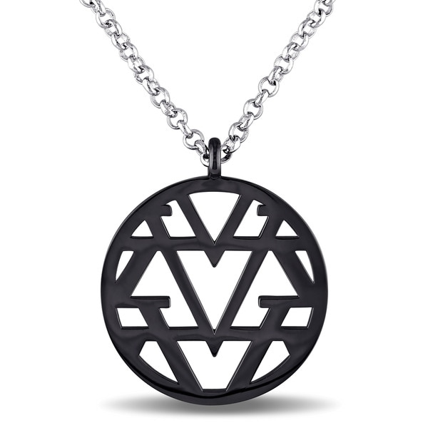 Miadora Openwork Necklace in Sterling Silver with Black Rhodium - White. Opens flyout.