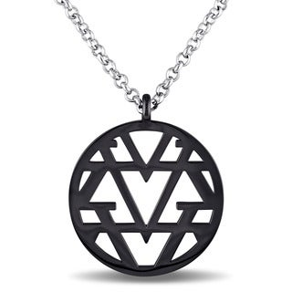 V1969 ITALIA Openwork Necklace in Sterling Silver with Black Rhodium