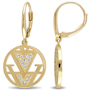 V1969 ITALIA White Sapphire Openwork Drop Earrings in 18k Yellow Gold Plated Sterling Silver