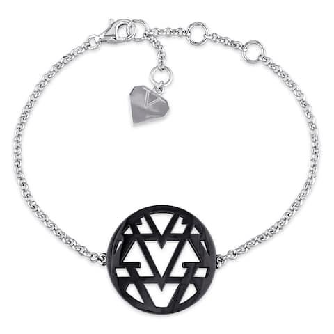 Miadora Openwork Bracelet in Sterling Silver with Black Rhodium