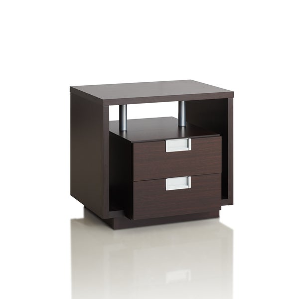 Furniture Of America Ferrall Modern Espresso Box 2 Drawer End Table
