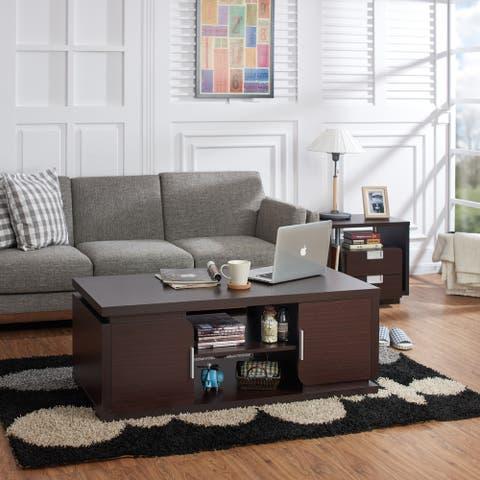 Furniture of America Deya Modern Walnut 47-inch 2-shelf Coffee Table