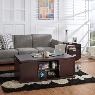 Furniture of America Deya Modern Walnut Multi-storage Coffee Table