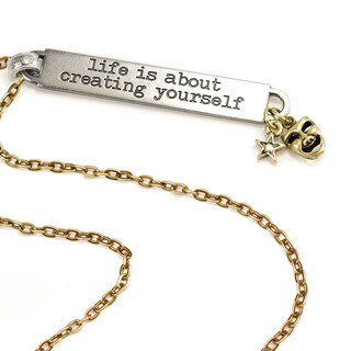 Sweet Romance Motivational Quote 'life is about creating yourself' Inspiration Necklace