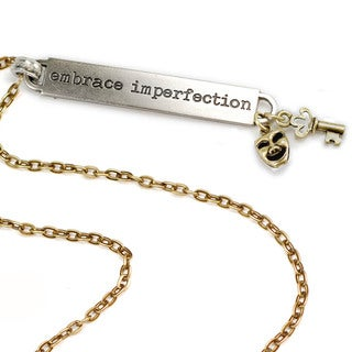Sweet Romance Motivational Quote 'Embrace Imperfection' Inspiration Necklace