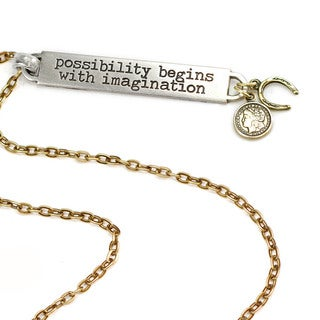 Sweet Romance Motivational Quote 'possibility begins with imagination' Inspiration Necklace