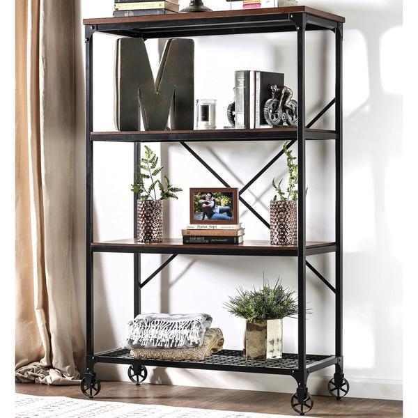 Furniture Of America Daimon II Industrial Medium Oak 4 Tier Bookshelf