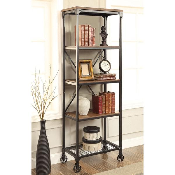 Furniture Of America Daimon I Industrial Medium Oak 5 Tier Bookshelf