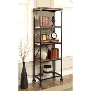 Furniture of America Daimon I Industrial Medium Oak 5-tier Bookshelf