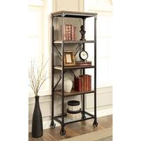 Furniture of America Daimon I Industrial Medium Oak 5-tier Bookshelf