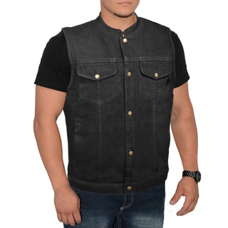 Men's Snap Front Denim Club Vest (Option: Black)