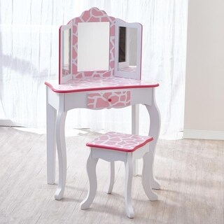 Teamson Kids -Fashion Prints Vanity & Stool Set with Mirror - Giraffe (Baby Pink / White) - White