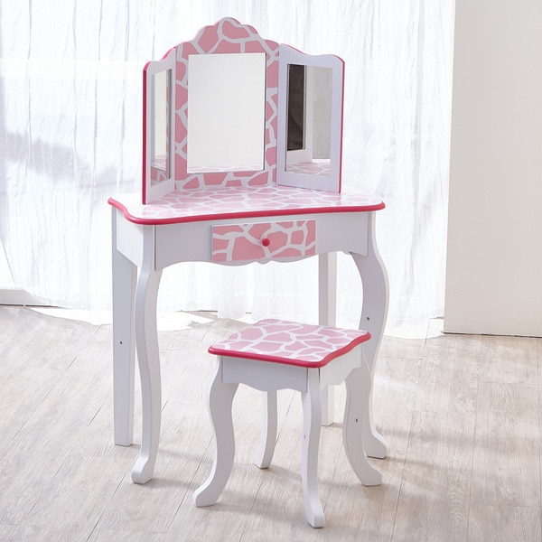 Teamson Kids Fashion Prints Vanity Amp Stool Set With