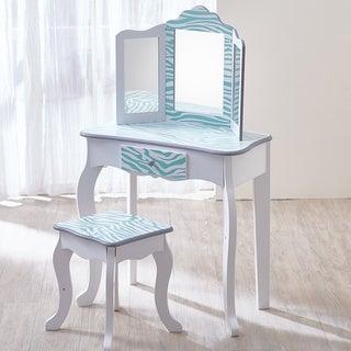 Teamson Kids - Fashion Prints Vanity Table & Stool Set with Mirror - Zebra (Aqua Blue/ White)