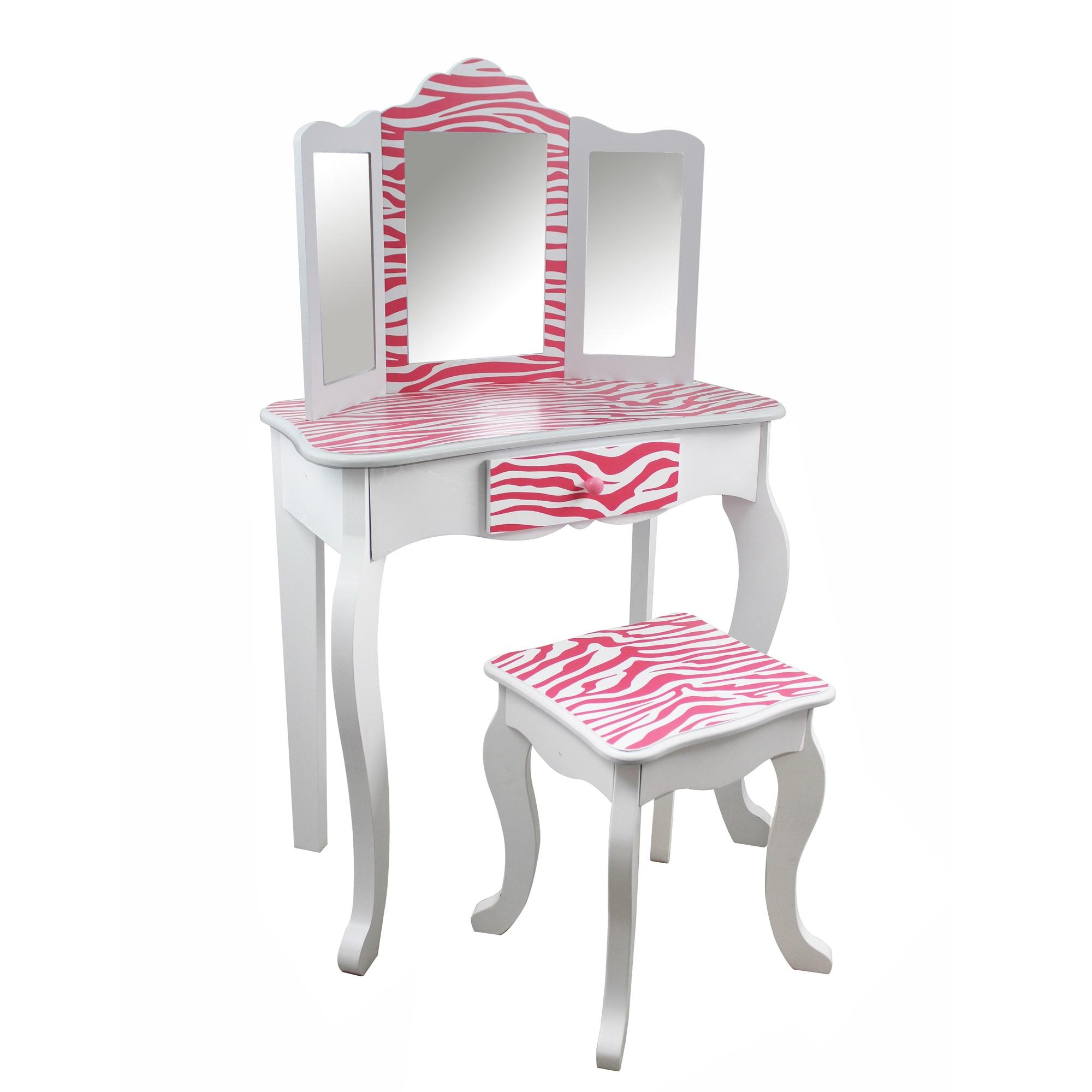 Teamson Kids - Zebra Vanity Table & Stool Set, White