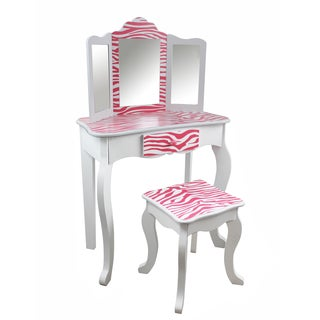 Teamson Kids - Zebra Vanity Table & Stool Set