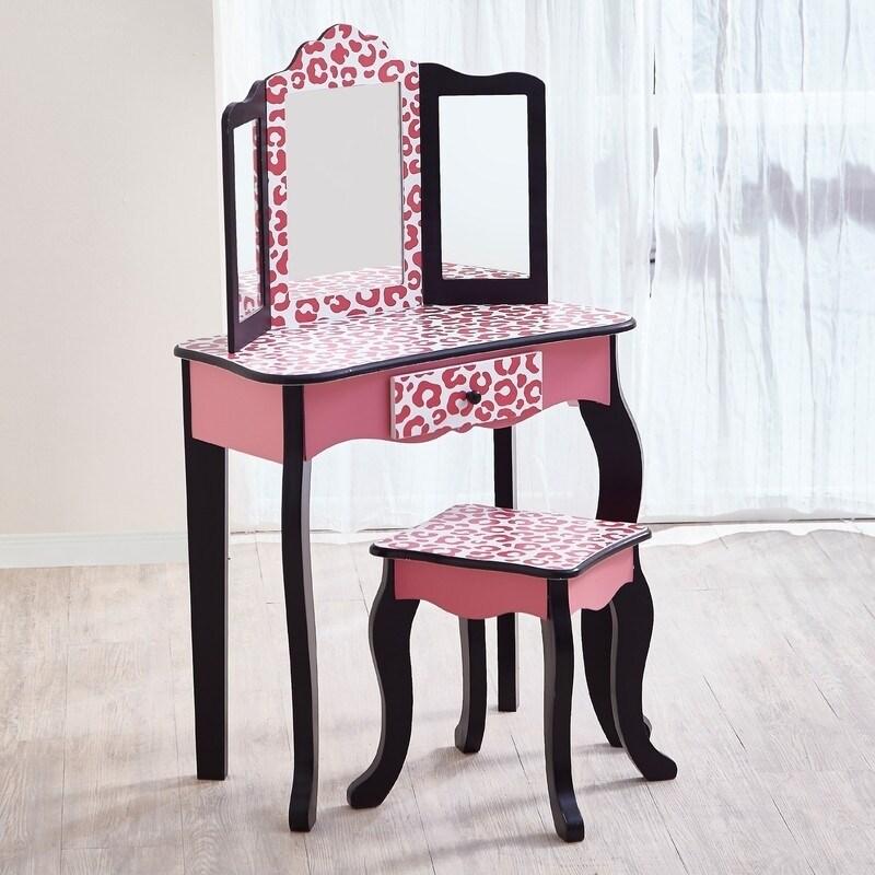 Teamson Kids - Leopard Vanity Table & Stool Set