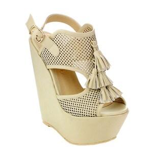 Machi Women's CL-Zaipho-1 Tassel Peep-toe Wedges in Beige Size 8.5 (As Is Item)