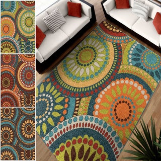 Aria Pinwheel Area Rug in Orange/Red Only (5'2 x 7'6) (As Is Item)