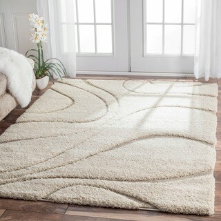 nuLOOM Soft and Plush Curves Ivory/ Beige Shag Area Rug (5'3 x 7'6) (As Is Item)