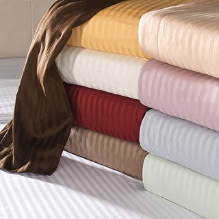 Luxor Treasures Egyptian Cotton 650 Thread Count Deep Pocket Striped Sheet Set Queen Size in Chocolate (As Is)