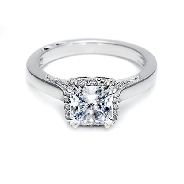 d4b252032a243 Tacori 18k White Gold 1/8ct TDW Semi Mount Diamond Engagement Ring (G-H,  VS1-VS2)
