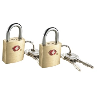 Travel Smart by Conair TS2A01TS Small Brass Travel Sentry Padlock (Set of 2)