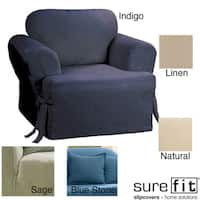 Sure Fit Cotton Classic T-cushion Chair Slipcover in Natural (As Is Item)