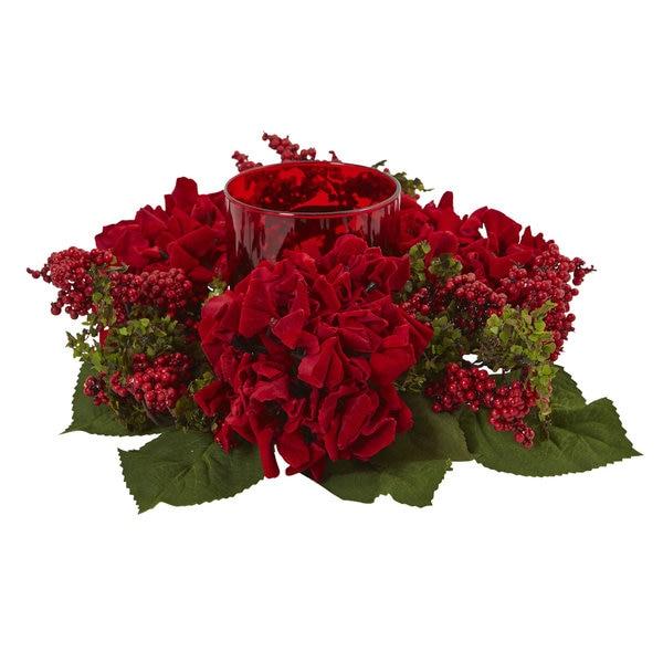 Hydrangea & Berry Candelabrum