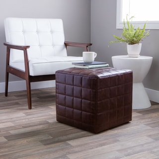Hazelton Home Banks Ottoman In Leather