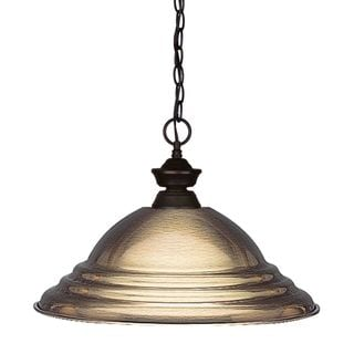 Z-Lite Bronze Finish with Stepped Antique Bronze Shade - Steel 1-light Pendant