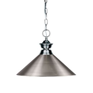 Z-Lite Iron Finish with Brushed Nickel Shade - Steel 1-light Pendant