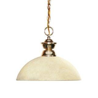 Z-Lite Brass Finish with Dome Golden Mottle Shade - Steel 1-light Pendant