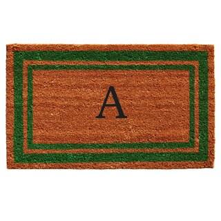 Green Border Monogram Doormat (2' x 3')
