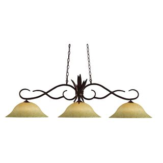 Bronze Finish with Golden Mottle Shade - Steel 3-light Island/Billiard Light