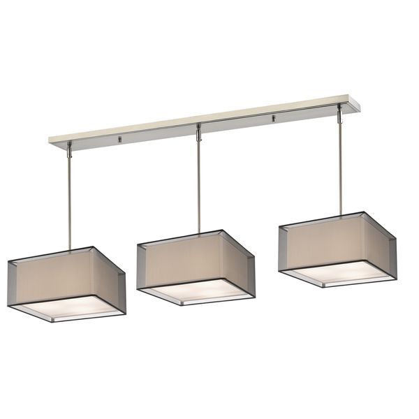 Avery Home Lighting Brushed Nickel With Black Super White Shade Steel 9 Light
