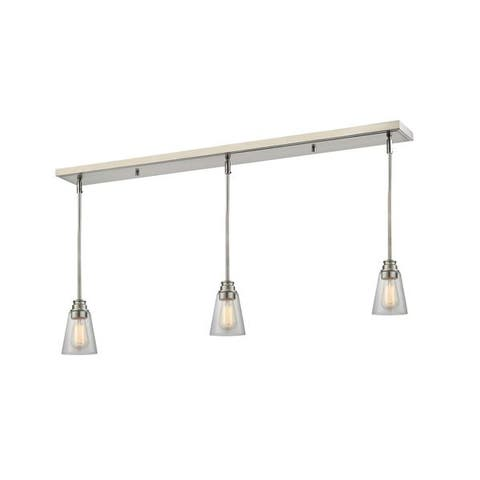 Avery Home Lighting Brushed Nickel with Clear Shade - Steel 3-light Island/Billiard Light