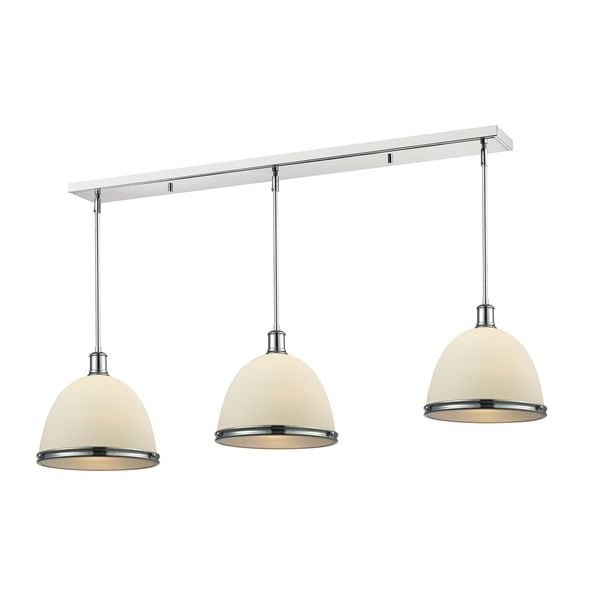 Avery Home Lighting Chrome Finish with Matte Opal Shade - Steel 3-light Island/Billiard Light