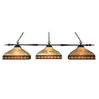 Z-Lite Bronze Finish with Multi-Coloured Tiffany-style Shade - Metal 3-light Island/Billiard Light