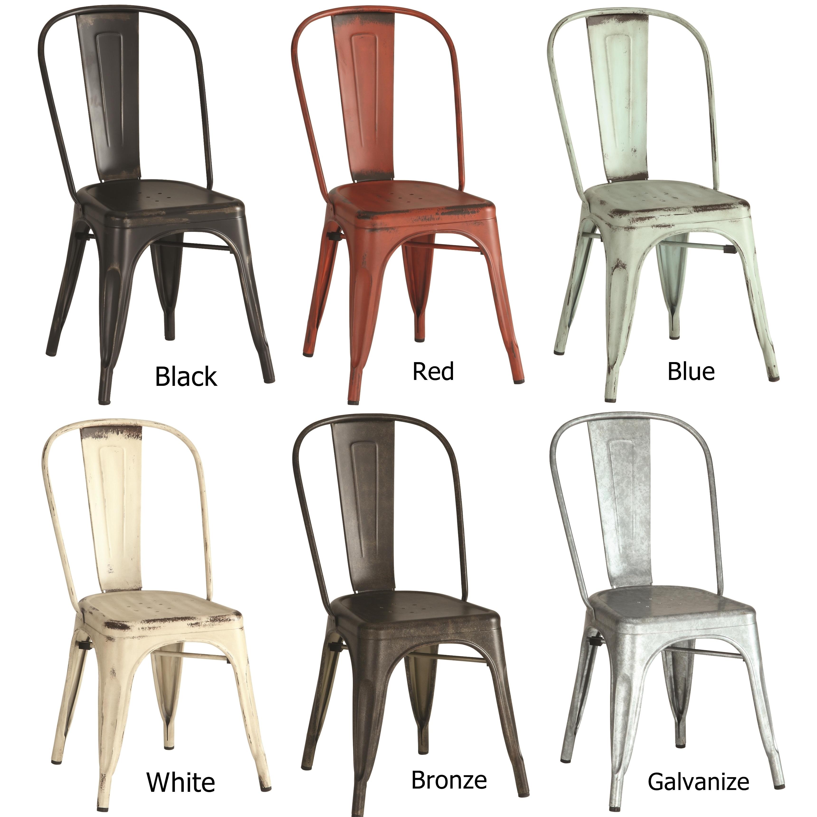 Vintage Distressed Rustic Metal Dining Chairs Set Of