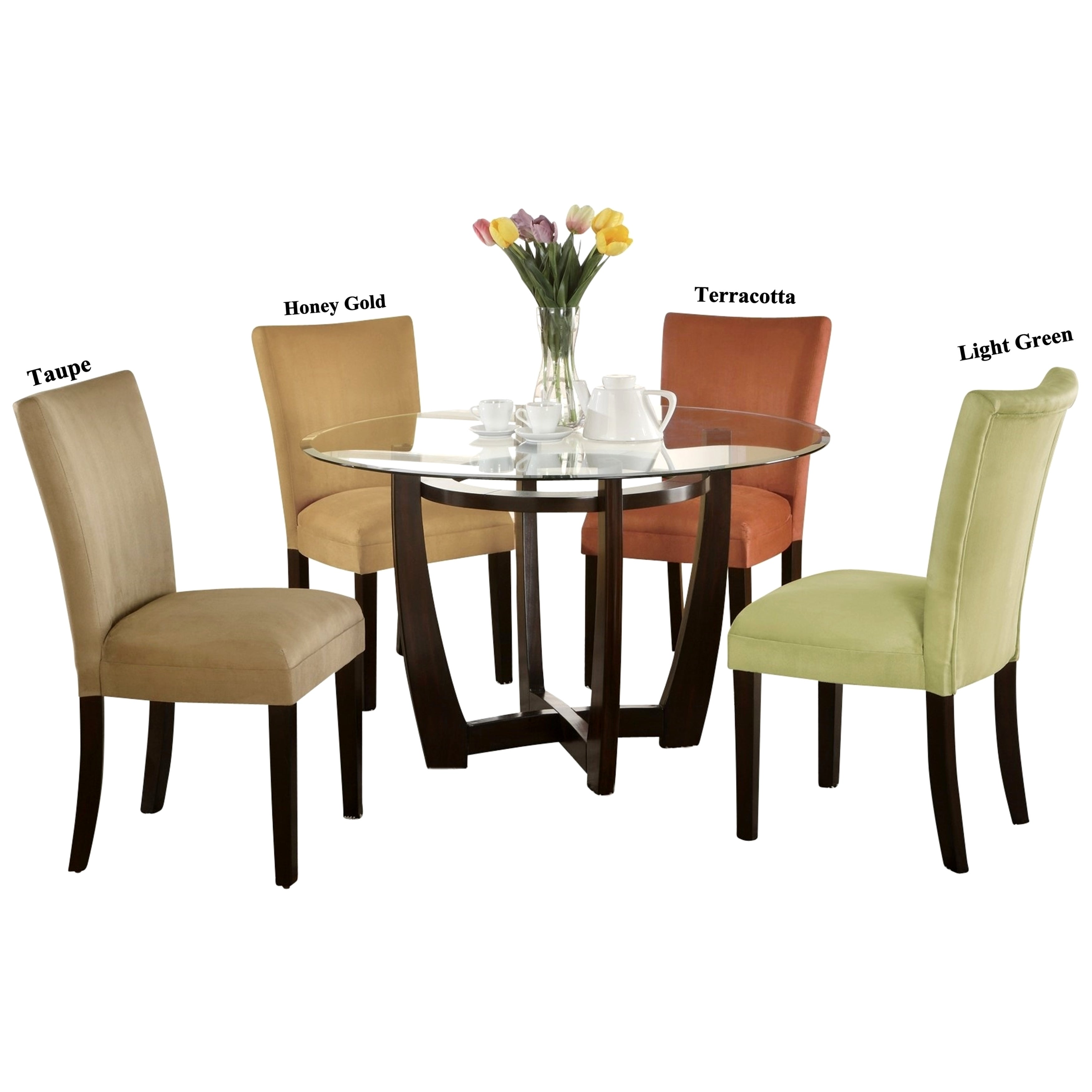 Mirage Round Glass Top Table Microfiber Parson Chairs
