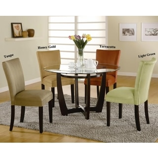 Mirage Round Glass Top Table Microfiber Parson Chairs 5 Piece Dining Set