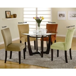 Mirage Round Glass Top Table / Microfiber Parson Chairs 5-piece Dining Set